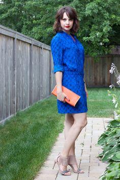 Electric Blue post - DVF silk shirt dress in Blue Alligator color; Vince Camuto fringe sandals; Orange clutch; Chunky orange necklace; Nixon The Kensington watch; Giorgio Armani Lip Maestro in Chinese Lacquer 402