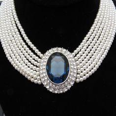 Sapphire Pendant Pearl Collar Necklace Princess Diana