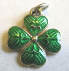 Vintage German Silver Guilloche Enamel Lucky Clover with Heart Shapes Charm  #Unbranded #Vintage