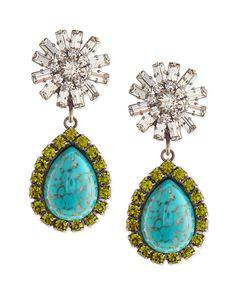 Dannijo Ranya Turquoise Colored Teardrop Earrings