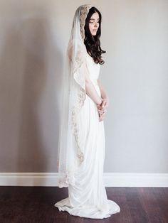 Bridal veil Mantilla veil Gold bridal by SmithaMenonbridal on Etsy