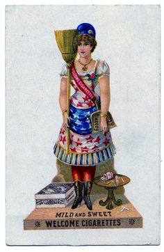 Vintage Clip Art - Patriotic Lady with Broom - The Graphics Fairy