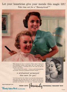 Helene Curtis Permanent Wave 1956 hairdressing history. history of hair