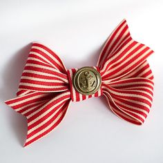 Red and White Ribbon bow with a vintage button with by pardes, $14.00