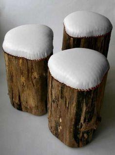 Muebles antiguos: Ideas para reutilizarlos - Taburetes reciclados con troncos de madera