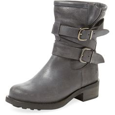 Maiden Lane Women's Buckled Leather Motorcycle Boot - Grey, Size 35 ($75) ❤ liked on Polyvore featuring shoes, boots, grey, biker boots, leather moto boots, leather motorcycle boots, gray leather boots and engineer boots