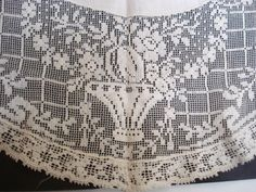 Lovely Antique Round Tablecloth Filet Floral Lace by VerasLinens