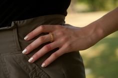 thin hexagonal eco resin ring - clear with gold leaf flakes - size 7.5. $20.00, via Etsy.
