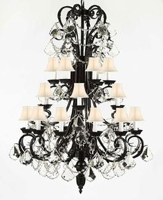 Wrought iron chandeliers wrought with crystal wrought iron entrywayfoyer wrought iron chandelier lighting 50in tall with crystal shades aloadofball Gallery
