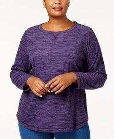 Karen Scott Plus Size Marled-Knit Sweatshirt, Created for Macy's - Purple 0X