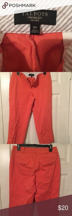 Orange 🍊 colored Talbots Capri pants Khaki material. Close up pic shows true color. Feel free to ask any questions you have Talbots Pants Capris