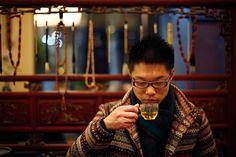 Shen Jun Yi drinks Tregothnan British tea at a tea house in the Hongqiao Antique and Tea Center in downtown Shanghai.