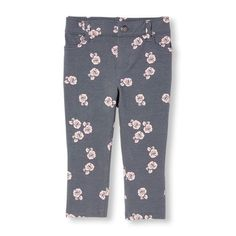 f92ccf67bebc Baby Girls Toddler Rose Print Knit Jeggings - Gray - The Children's Place  Children's Place,