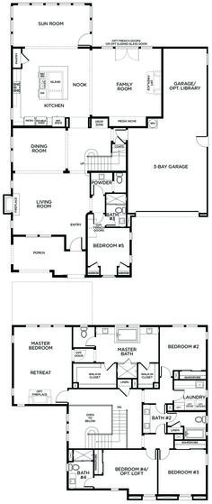 5 bedroom house plan. i'd move the 5th room upstairs and change it