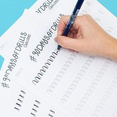 90 practice worksheets a 90 day challenge. Brush calligraphy with a Tombow or other brush pen. Best for beginners just interested in hand lettering. Practice your strokes.