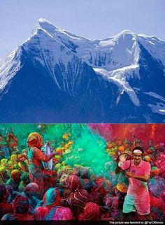 1. Roger Federer played holi in India. 2. Holi festival is one of the most celebrated festival in India. 3. People celebrated this at the footsteps of Himalaya.
