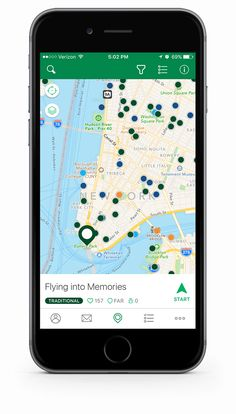 Map of geocaches on the Geocaching iPhone app
