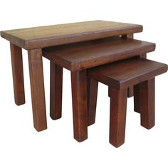 Rustic French Antique Oak Stacking Tables Nesting Tables