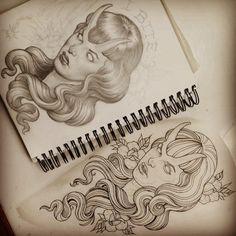 Stoked to start this evil Bettie Page portrait on the lovely @betttiepaige! @sacredtattoonyc #tattooapprentice #bettiepage #bettiepagetattoo #drawing