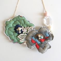 Nuno Ohana Quilting Necklace M3 by HOMAKO on Etsy