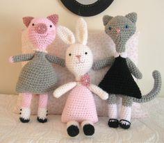 Amigurumi Patterns Crochet Little Animal Girls Pattern Set PDF. $5.00, via Etsy.