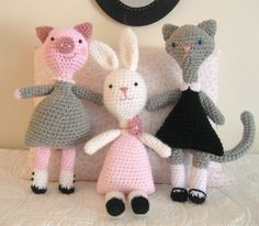Amigurumi Patterns Crochet Little Animal Girls Pattern Set PDF. $5.00, via Etsy.