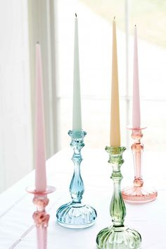 Twelve Tapered Candles Set in Ice Cream Colours, £25.00