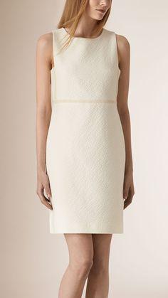 Diamond Jacquard Cotton Shift Dress White | Burberry
