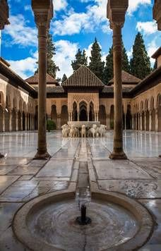 The Court of the Lions – Fountain – Water Jet . Alhambra of Granada Alhambra Water, Alhambra Spain, Albizia Julibrissin, Seville Spain, Islamic Architecture, Moorish, Patio, Water Garden, Beautiful Places