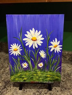 painting of daisies This is hand painted. Daisy Painting, Summer Painting, Easy Canvas Painting, Simple Acrylic Paintings, Diy Canvas Art, Body Painting, Image Nature, Indian Art Paintings, Painting Inspiration