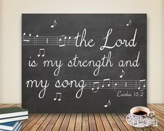 "Bible verse about music ""the Lord is my strength and my song"" Chalkboard art idea for any time of year. Bible Verse Wall Art, Scripture Art, Bible Art, Bible Quotes, Printable Scripture, Chalkboard Printable, Bible Verses About Music, Bible Verse Painting, Free Printable"