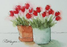 Red Tulips Original Watercolor Painting ACEO by RoseAnnHayes, a miniature watercolor, available in Etsy shop