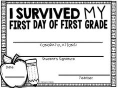First Day of First Grade Awards - 4 Styles - Type or Write in!