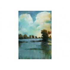 Pond And Clouds Landscape Artwork 44 x 64