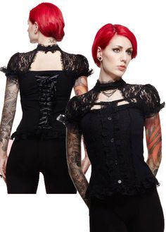 Hell Bunny Nihilist Victorian Steampunk Lace Top