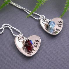 Set of 2 - Sisters and best friends necklaces - personalized jewelry - sterling silver chain - swarovski birthstones. $52.00, via Etsy.