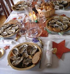 "Christmas in France:  In France  a réveillon is a long dinner held on the evenings preceding Christmas Day and New Year's Day.  Common dishes include goose or duck liver (foie gras); oysters; smoked salmon; lobster; roasted duck, goose or turkey with chestnuts and stuffing; and, for dessert, a traditional christmas cake called ""La Buche de Noel"" (Christmas log), a cream cake that comes in different flavours (chocolate, hazelnut…) and which has the shape of a log."