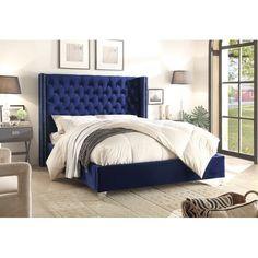House of Hampton Mounts Upholstered Platform Bed Size: Queen, Color: Navy Velvet Upholstered Bed, Velvet Bed, Upholstered Platform Bed, Platform Beds, Wingback Bed, Inverness, Bedroom Sets, Girls Bedroom, Fancy Bedroom