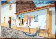 Rua Alentejana Pastel, Painting, Street, Cross Stitch, Cake, Painting Art, Paintings, Painted Canvas, Crayon Art