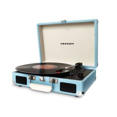 Yes, it's a real vinyl turntable, but no, it's not a prisoner of your home. This eggshell blue portable 3-speed turntable is made from hardwood, bound in vinyl, and light enough to transport from place to place. Rest assured, it also has built-in dynamic full-range studio speakers, a belt-drive turntable mechanism, a manual return tone arm, vinyl cover, RCA audio output and headphone jack, and AC power adapter. You will be groovin' before the music even starts!