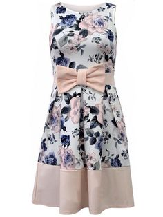 Sleeveless Florals Bow Dress 15.00