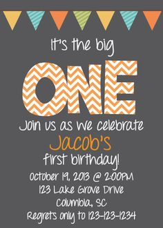 Make your little ones birthday bash even more special with these Its the Big ONE birthday invitations! FREE matching thank you card now included