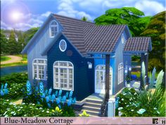 Beautiful little blue cottage thats just waiting for your sim or sim couple to move in and start their simming lives.  Found in TSR Category 'Sims 4 Residential Lots'