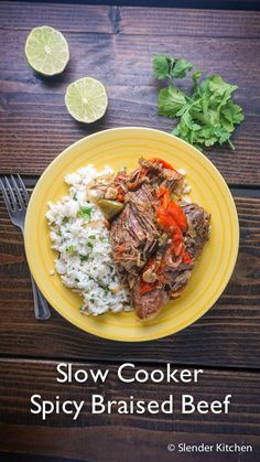 An easy and low calorie spicy braised beef made in the slow cooker for around 200 calories and only 5 Weight Watchers PointsPlus