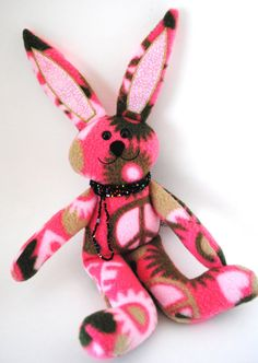 Bunny with Peace and Love by CuddleWumkins on Etsy, $25.00