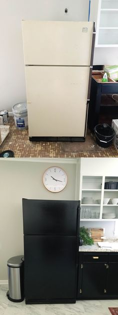 Before and After: DIY painting an old fridge for $16!  Couldn't make mine look any worse, right ?
