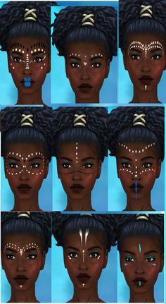 make up 4 tribal make up African Tribal Makeup, African Beauty, Afro Punk, African Face Paint, Warrior Makeup, Tribal Face Paints, Rave Makeup, Black Girl Art, Afro Art