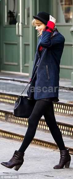 Holding on: Taylor Swift nearly lost her hat walking around the windy day in New York on Wednesday #pantyhose #sexy #ladies #women #ladyproducts #lush #smooth #fashion #stunning #legs #glamour