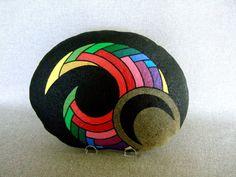 Colorful Handpainted Rock, a unique 3-d work of art. 350.00, via Etsy. {350.00??}