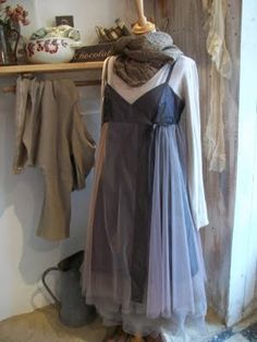 Grey, gathered tulle.